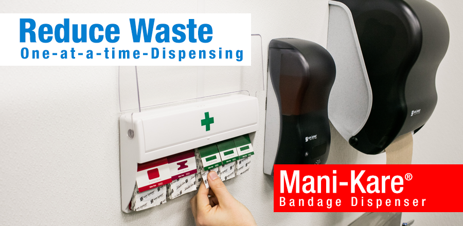 Reduce Waste - One at a time dispensing with the Mani Kare Bandage Dispenser
